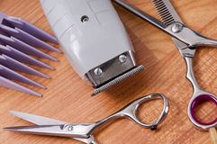 Hair cutting supplys Royalty Free Stock Photography