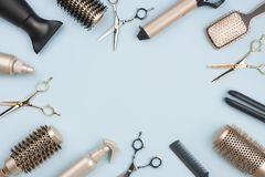 Free Hair Cutting Tools And Accessories On Blue Background With Space Royalty Free Stock Photography - 159227817