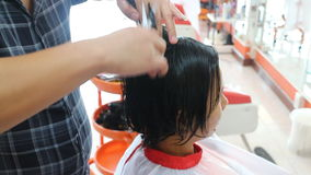 Hair Dresser Cutting For Asian Woman stock video