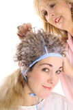 Hair dresser frosting clients hair upclose Royalty Free Stock Photos