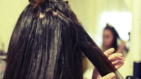 Hair Dresser Used Hair Straight Iron Royalty Free Stock Photography