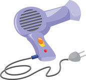Hair dryer. Illustration of hair dryer on white royalty free illustration