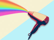 Hair dryer blowing rainbow flat design illustration Stock Image