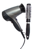 Hair dryer and brush isolated Royalty Free Stock Images