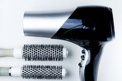 The Hair dryer and brush roll. Stock Photo
