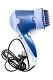 Hair dryer with comb attachment. Blue hair dryer with comb nozzle and black wire with a fork with a light shade on white background royalty free stock image