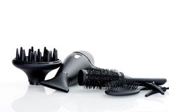 Hair dryer comb brush clips isolated Stock Image