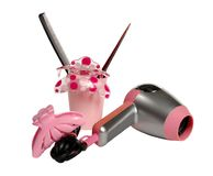 Hair dryer, hairbrushes and hairpins Royalty Free Stock Image