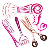 Hair dryer with a heart, a comb, a brush for coloring hair and s. Cissors stock illustration