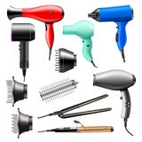 Hair dryer vector fashion hairdryer of hairdresser to blow-dry and electric hair-dryer blower illustration beauty set of stock images