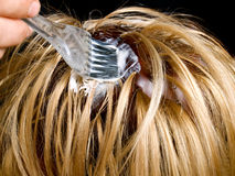Hair dyeing. Closeup view during hair dyeing treatment royalty free stock photography