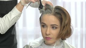 Hair dyeing in beauty salon. stock video footage