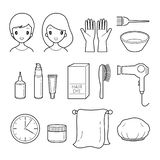 Hair Dyeing Equipment And Accessories Set, Outline stock illustration