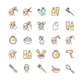 Hair dyeing icons set Stock Photo