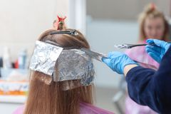 Hair dyeing process. Process of dyeing hair at beauty salon royalty free stock photography