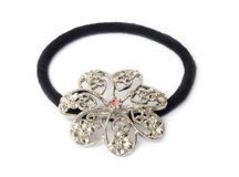 Hair elastic with silver flower Royalty Free Stock Images