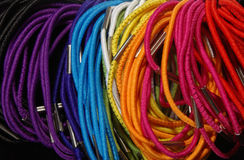 Hair elastics. A group of brightly colored hair elastics Stock Photography