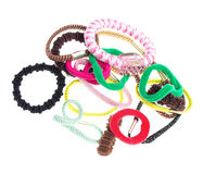 Hair elastics on white Stock Images
