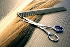 Hair extension. A comb and a scissor Stock Photography