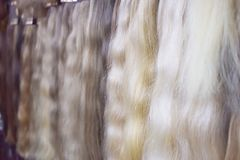 Hair extension equipment of natural hair. Hair ombre Balayage samples stock photography
