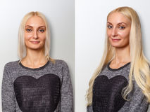 Hair extensions procedure. Hair before and after. Blond woman royalty free stock photography