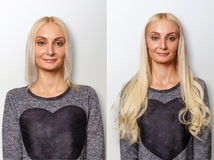 Hair extensions procedure. Hair before and after. Blond woman stock photography