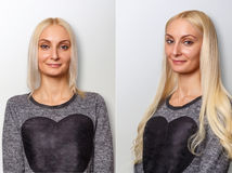 Hair extensions procedure. Hair before and after. Blond woman stock image