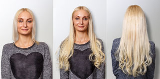 Hair extensions procedure. Hair before and after. Blond woman stock photo