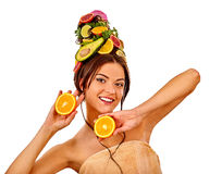 Hair and facial mask from fresh fruits for woman concept. Royalty Free Stock Photo