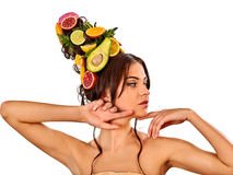 Hair and facial mask from fresh fruits for woman concept. Royalty Free Stock Photography