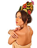 Hair and facial mask from fresh fruits for woman concept. Stock Photography