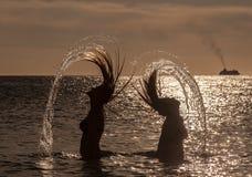 Hair flick  PortoMari - sunset Stock Photos