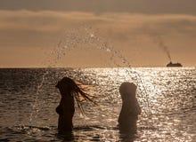 Hair flick  PortoMari - sunset Stock Photography
