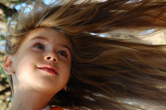 Hair flying aside Stock Photo