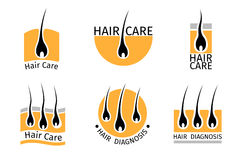 Hair follicle diagnostics logos set Stock Photography