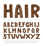 Hair font style alphabet, Vector illustration Royalty Free Stock Image