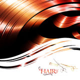 Hair frame. Hair wavy frame with cutting scissors and metal pin tail comb Royalty Free Stock Photos