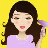 Hair Girl. Cute girl blow drying her hair Royalty Free Stock Photo