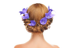 Hair girl with flowers and lilac purple hair Royalty Free Stock Images