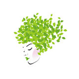 Hair with green leaves Royalty Free Stock Images