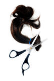 Hair and hair cutting scissors Stock Photo