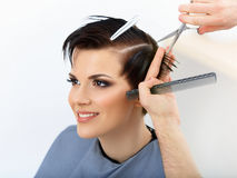 Hair. Hairdresser Cutting Client's Hair in Beauty Salon. Stock Photos