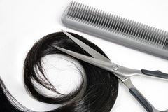 Hair and hairdresser's tools stock images