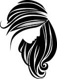 Hair icon. Beautiful girl with long hair stock illustration