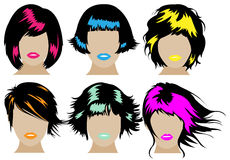 Hair icon set Stock Photos