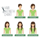Hair length chart front view Stock Photo