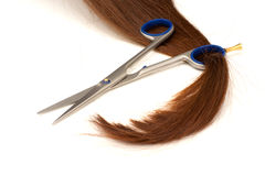 Hair lock in scissors ring Royalty Free Stock Images