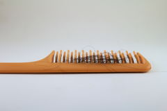 Hair loss. Close up for Hair Loss on the comb stock images