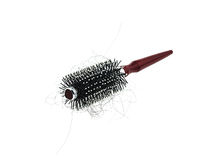 Hair loss problem with round hair brush , isolated on white back Royalty Free Stock Photography