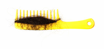 Hair loss problem and yellow comb Royalty Free Stock Images